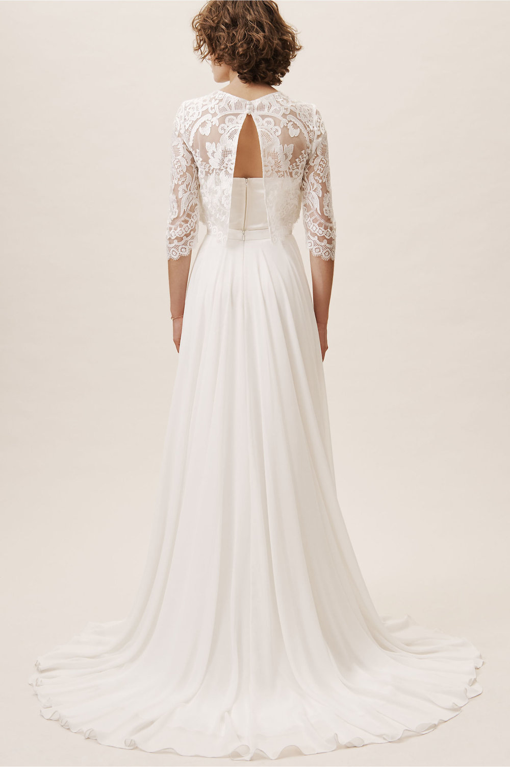 back view of lace three quarter sleeve back button topper 2019 bhldn spring wedding collection