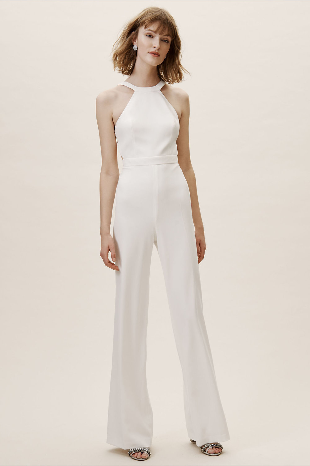 ivory jumpsuit with halter top front view bhldn spring 2019 wedding collection