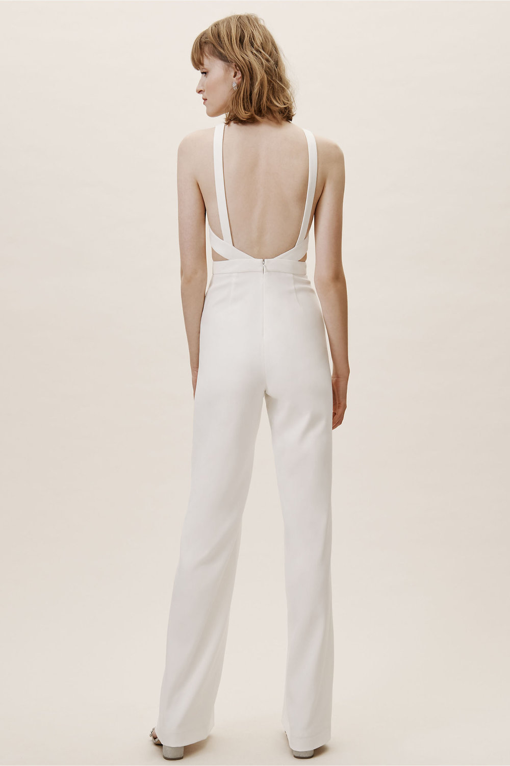 esmie jumpsuit ivory with side and back cutouts bhldn 2019 spring wedding collection