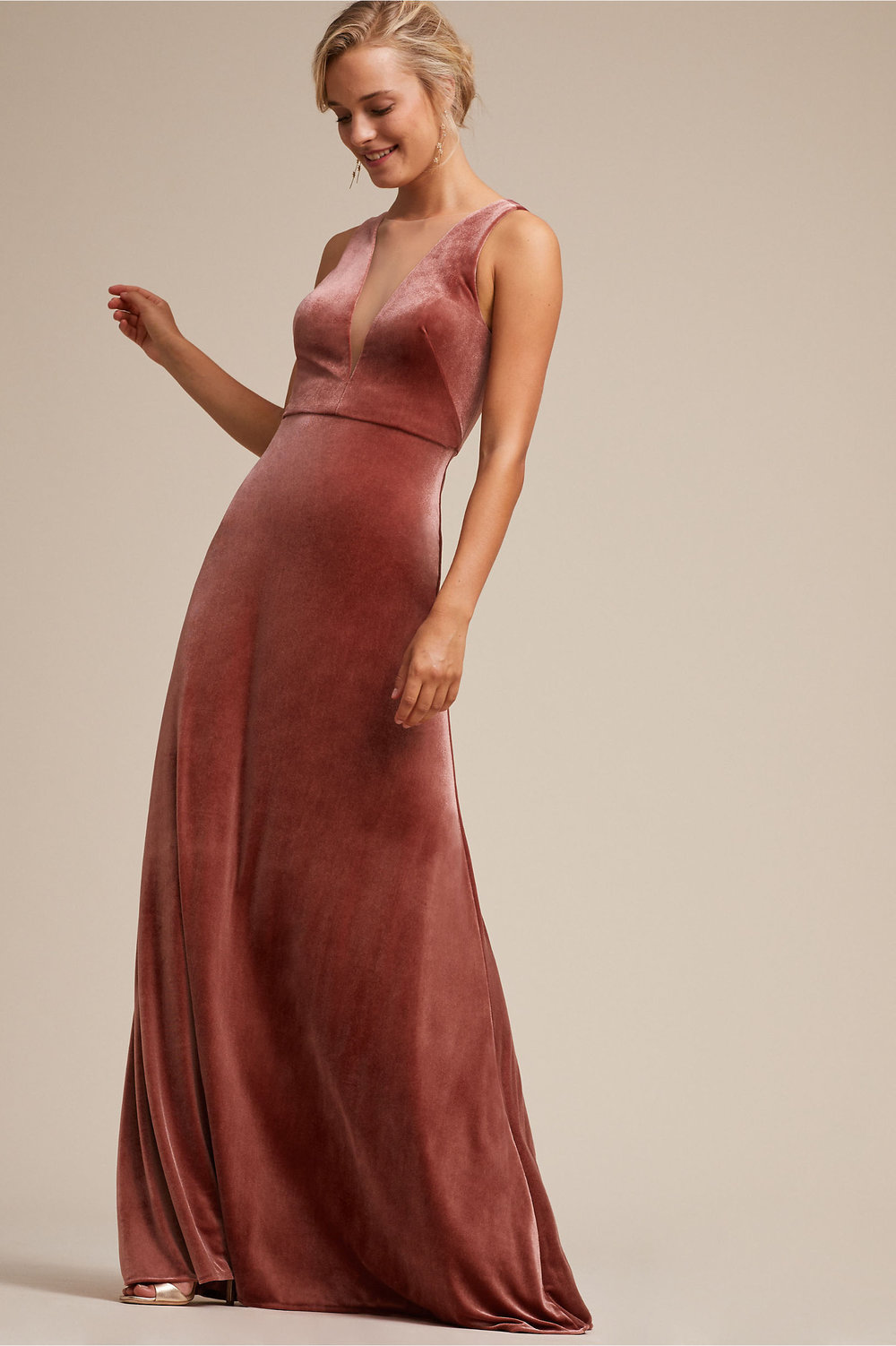rose velvet deep v neck gown bhldn 2019 spring collection