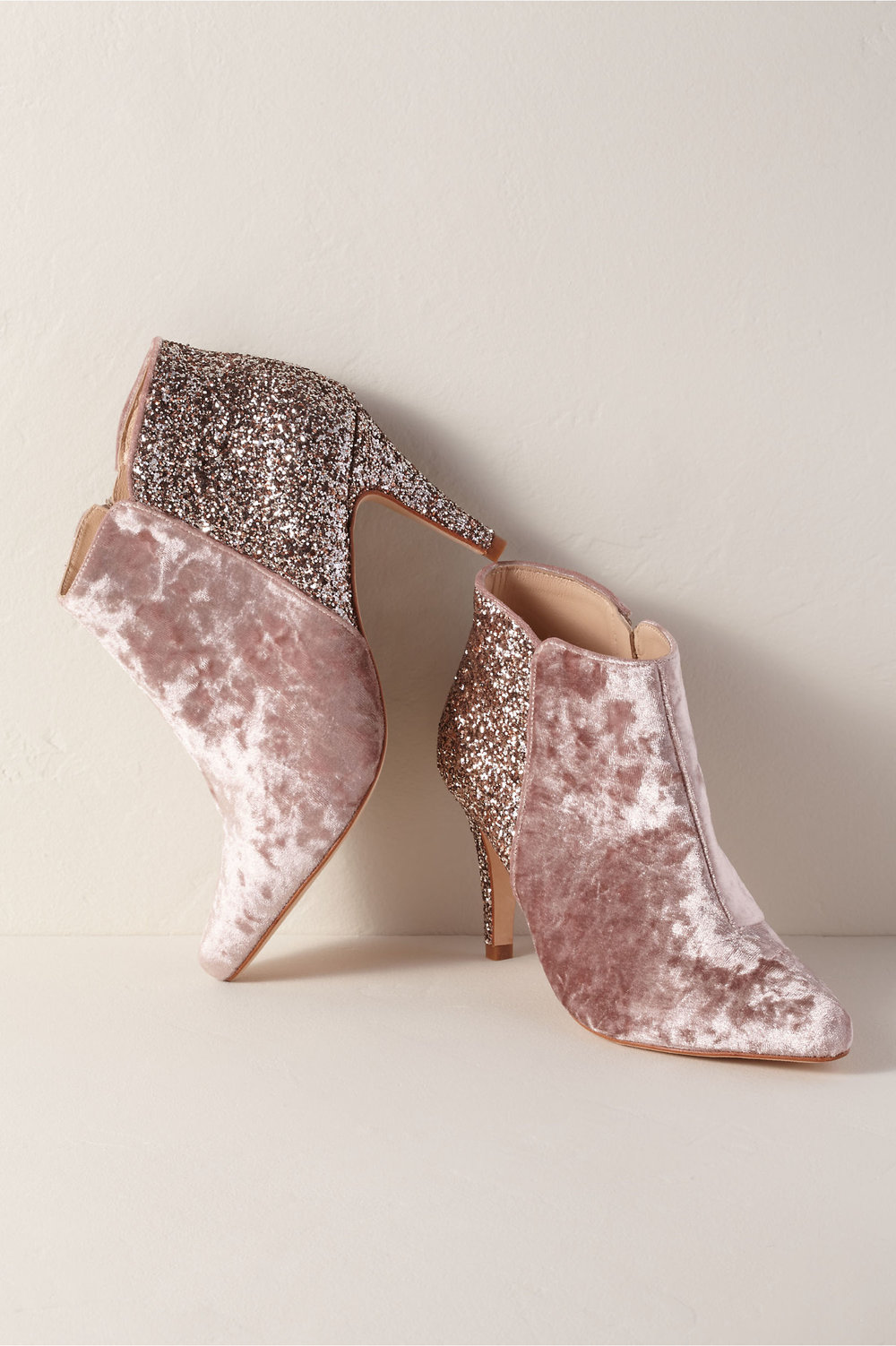 pink velvet and glitter high heel booties 2019 spring bhldn wedding collection