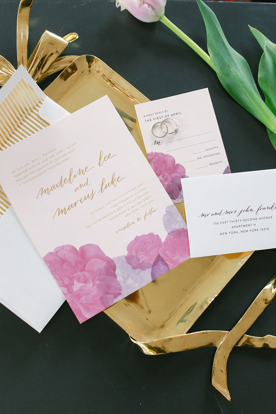 Modern traditional blended styled shoot new york invitation, envelope, and rsvp on gold tray