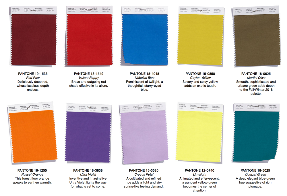 Fashion Color Swatches.  Image from Pantone