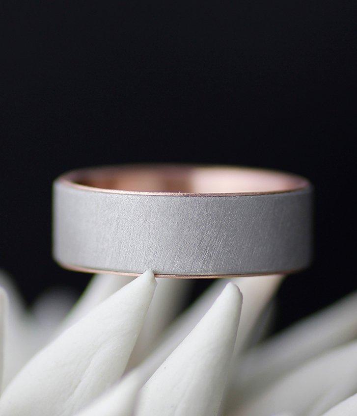 GOLD LINED ULTRA MATTE FLAT WEDDING BAND