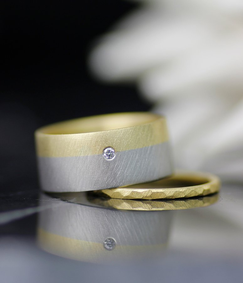 PALLADIUM AND GOLD FUSION WEDDING BAND WITH DIAMOND