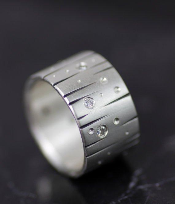 "WIDE WEDDING BAND - ""METEOR SHOWER"" HANDMADE DIAMOND WEDDING BAND"