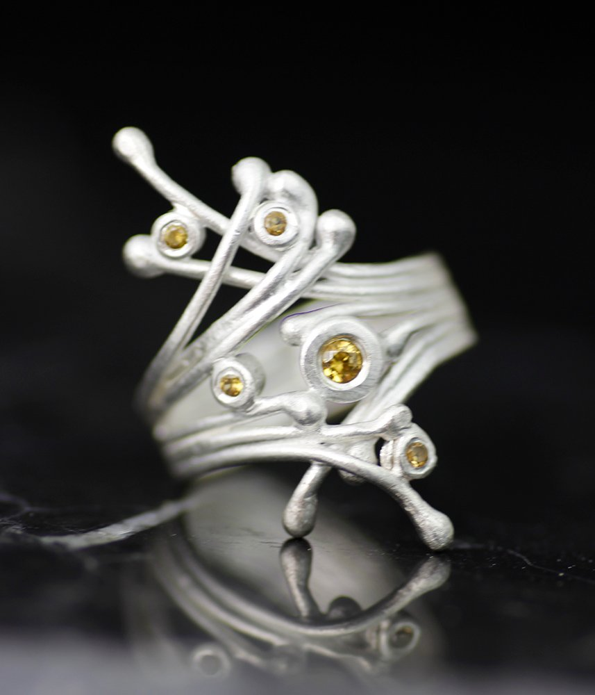 WINTER BRANCHES YELLOW SAPPHIRE ALTERNATIVE ENGAGEMENT RING