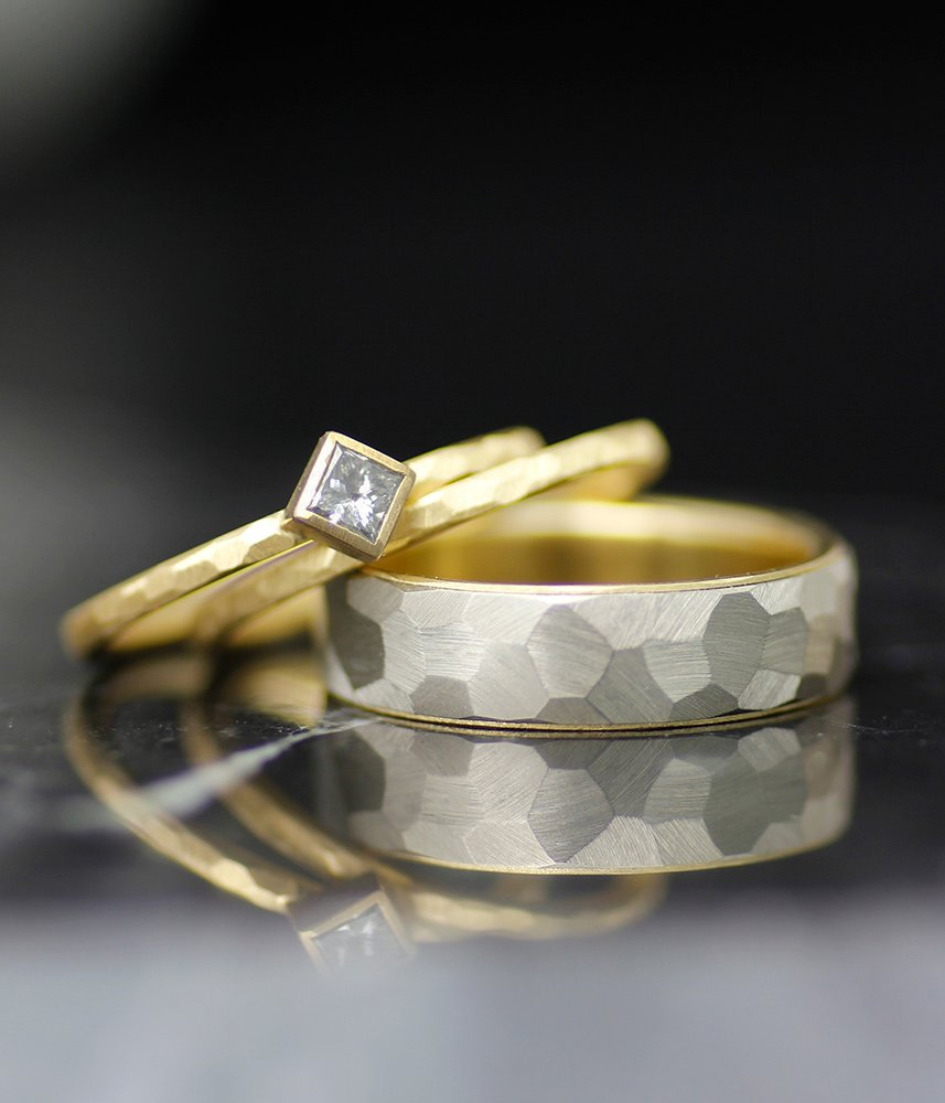 YELLOW OR ROSE GOLD LINED FACETED MEN'S OR WOMEN'S WEDDING BAND