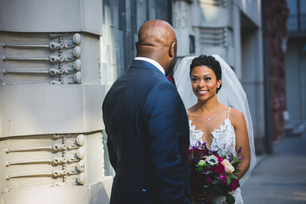 New Orleans Destination Wedding bride and groom first look
