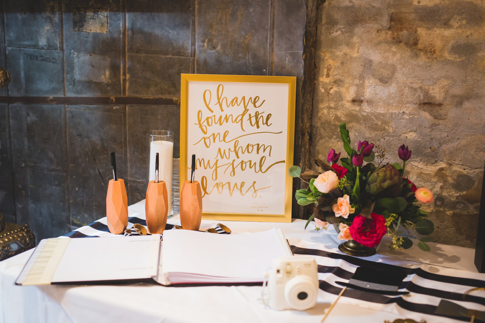 """New Orleans Destination Wedding table for guest book, polaroid camera, and sign reading """"I have found the one whom my soul loves"""""""