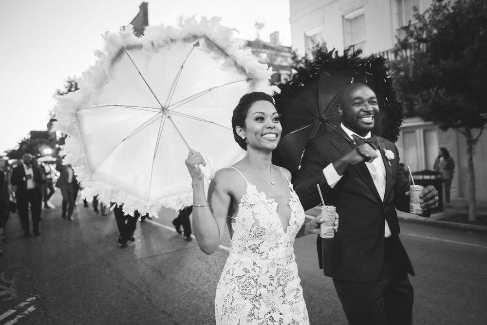 New Orleans Destination Wedding darius and jessica leading parade