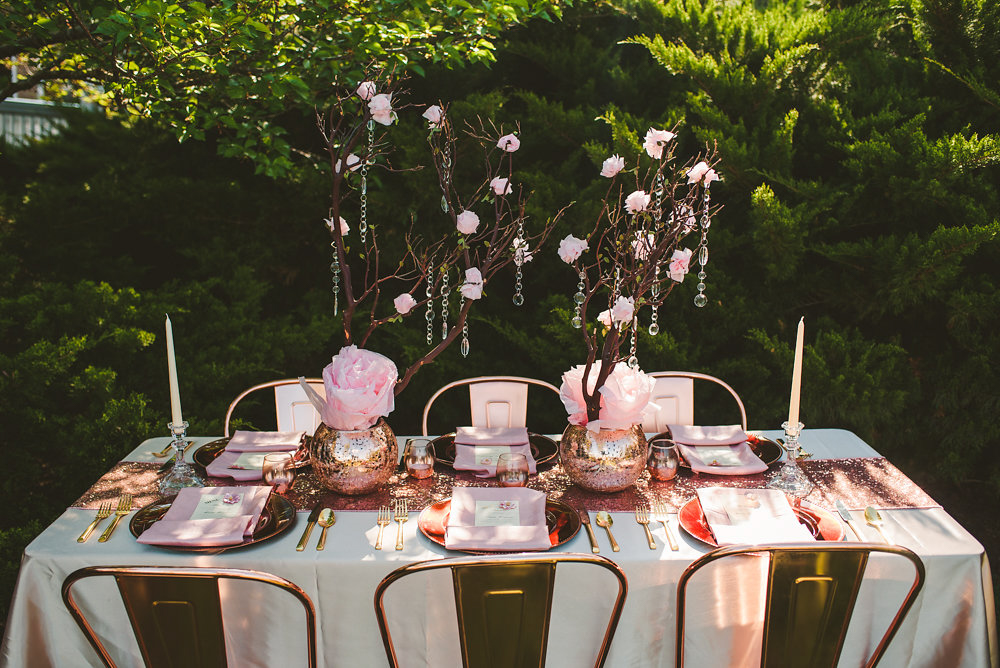 wedding inspiration the boathouse at sunday park midlothian virginia table with paper flowers and small cherry blossom trees with hanging jewels