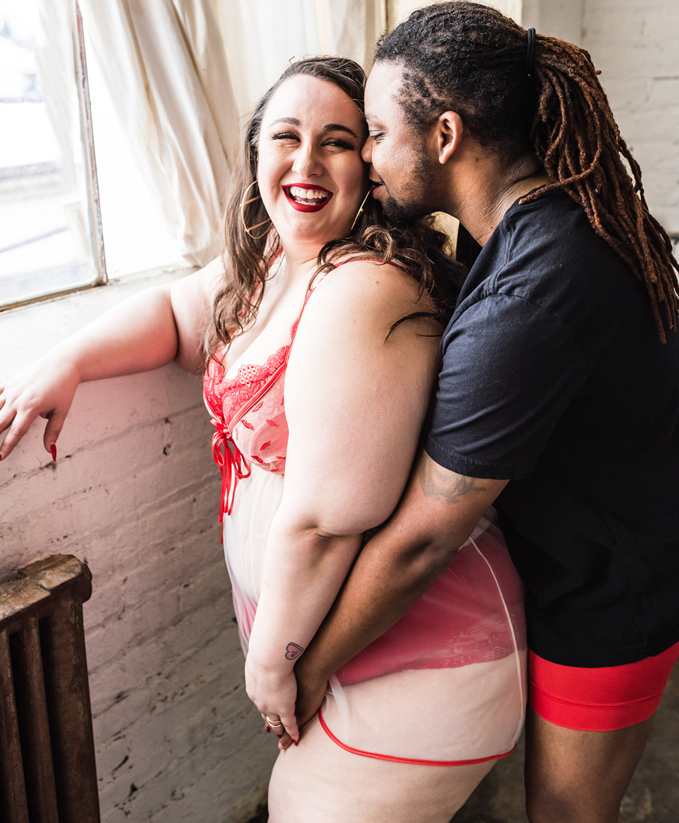 Valentine's Day Boudoir Shoot couple by window