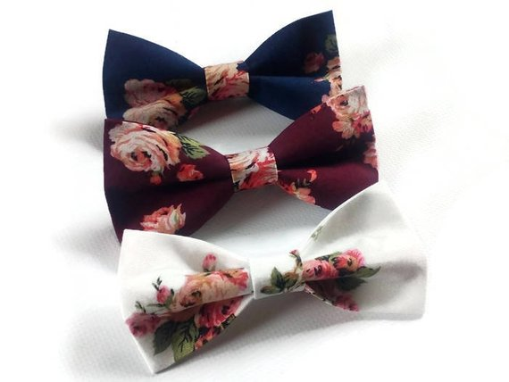 Large Print Floral Pet Bow Ties by Boho Daisy Art