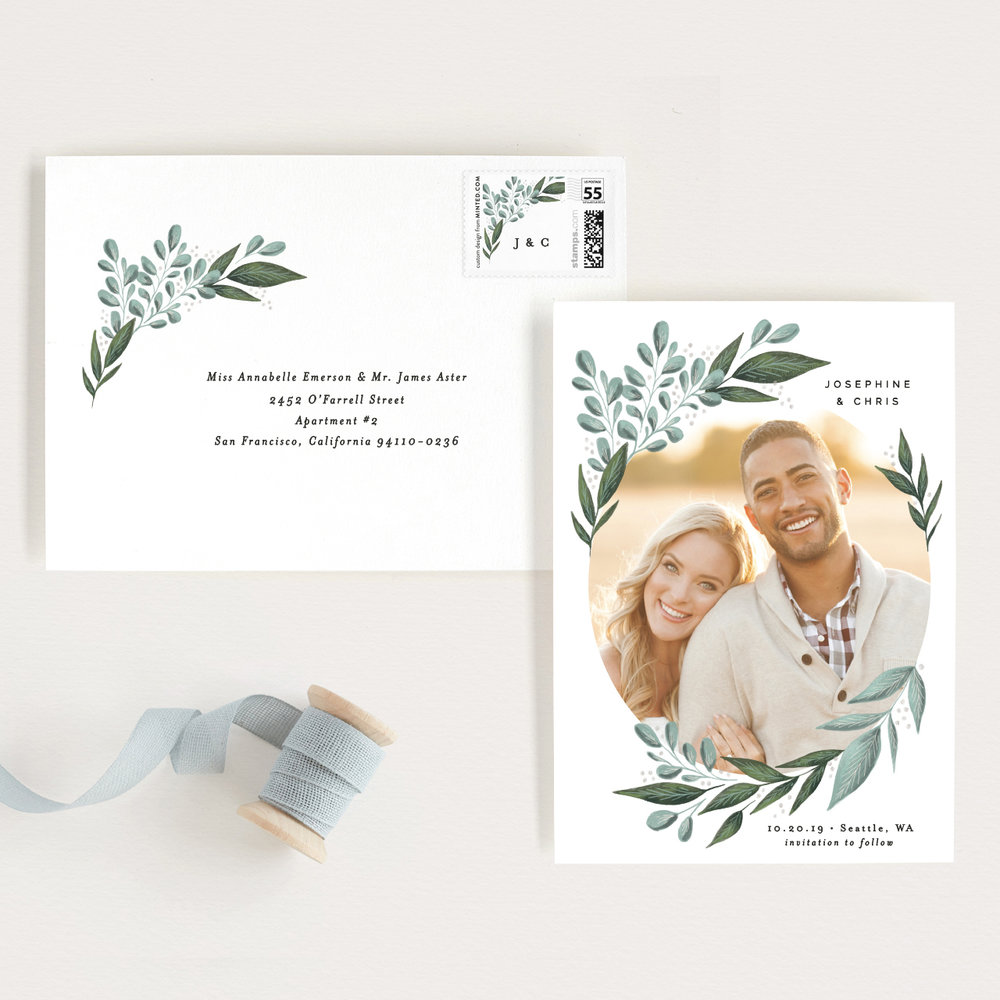 Wild Leaf Save the Date by Alethea and Ruth