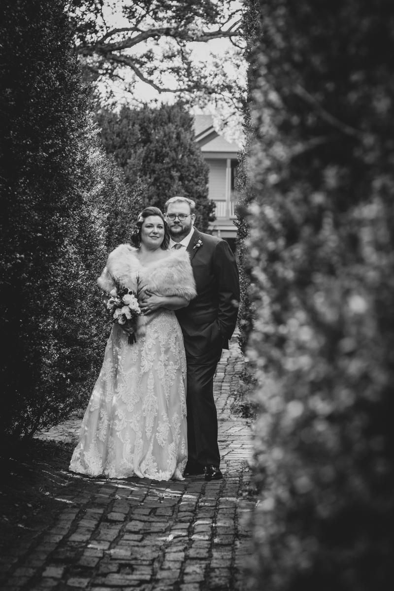 Romantic, Intimate-Feeling Wedding caroline and jon on brick path
