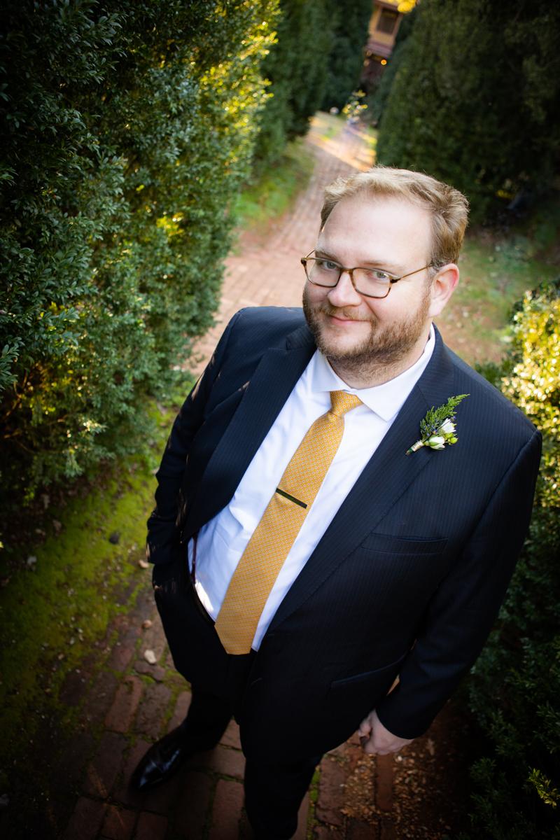 Romantic, Intimate-Feeling Wedding jon on brick path