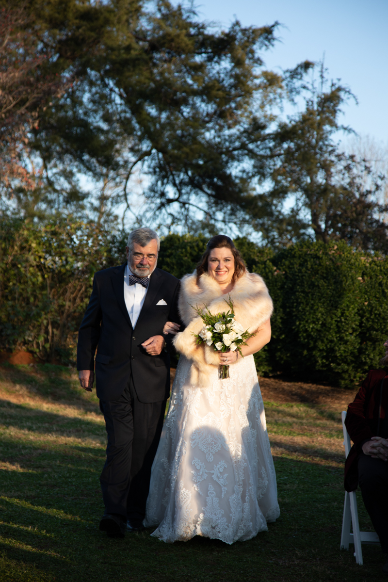 Romantic, Intimate-Feeling Wedding bride and father walking down aisle