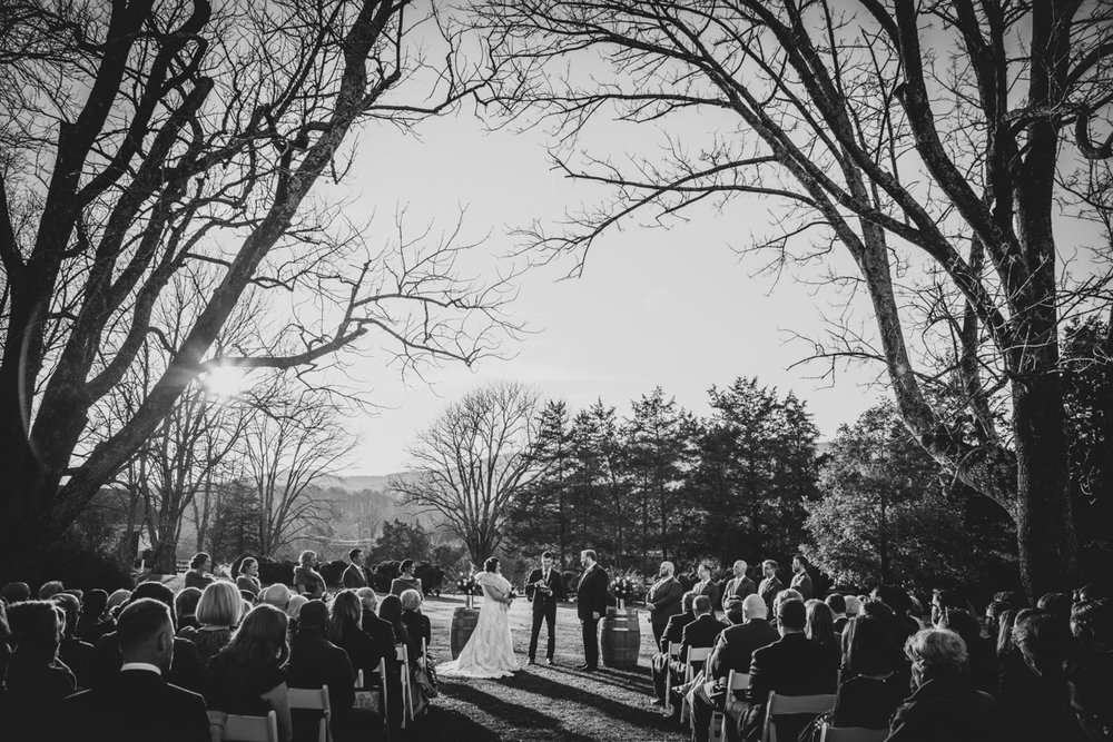 Romantic, Intimate-Feeling Wedding ceremony with guests
