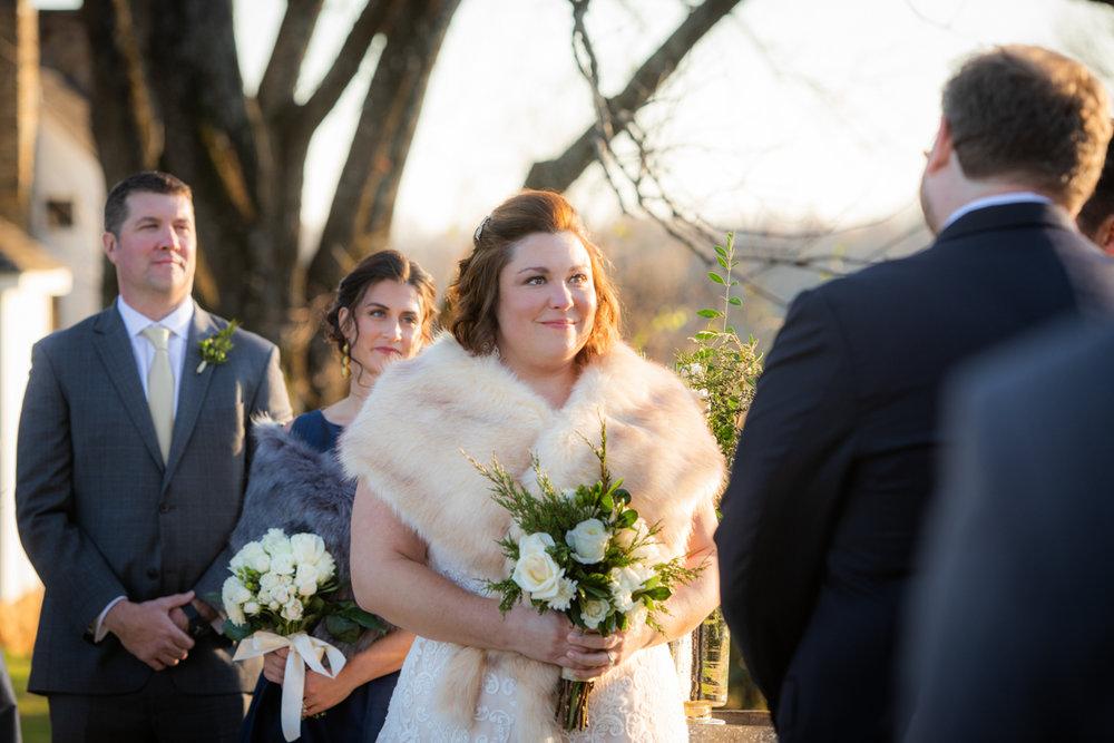 Romantic, Intimate-Feeling Wedding caroline during ceremony