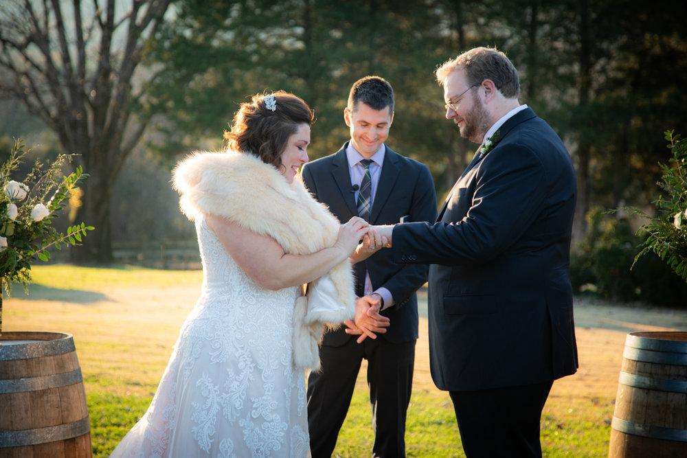 Romantic, Intimate-Feeling Wedding exchanging rings