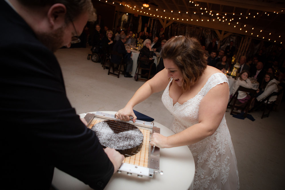 Romantic, Intimate-Feeling Wedding couple cutting cake with experimental cake cutter