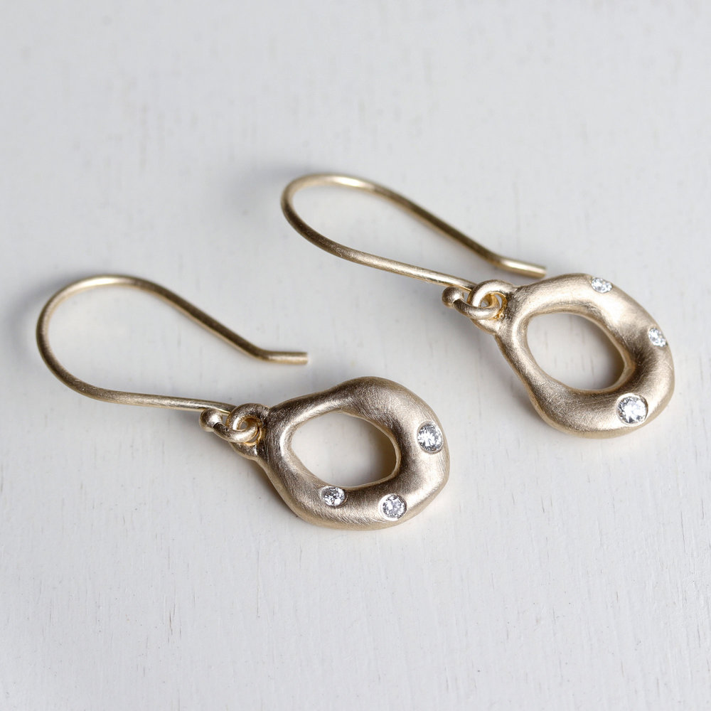 Torus Diamond Dangle Earrings