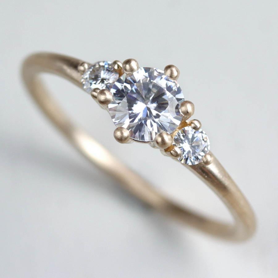 Prong-set Three Stone Engagement Ring
