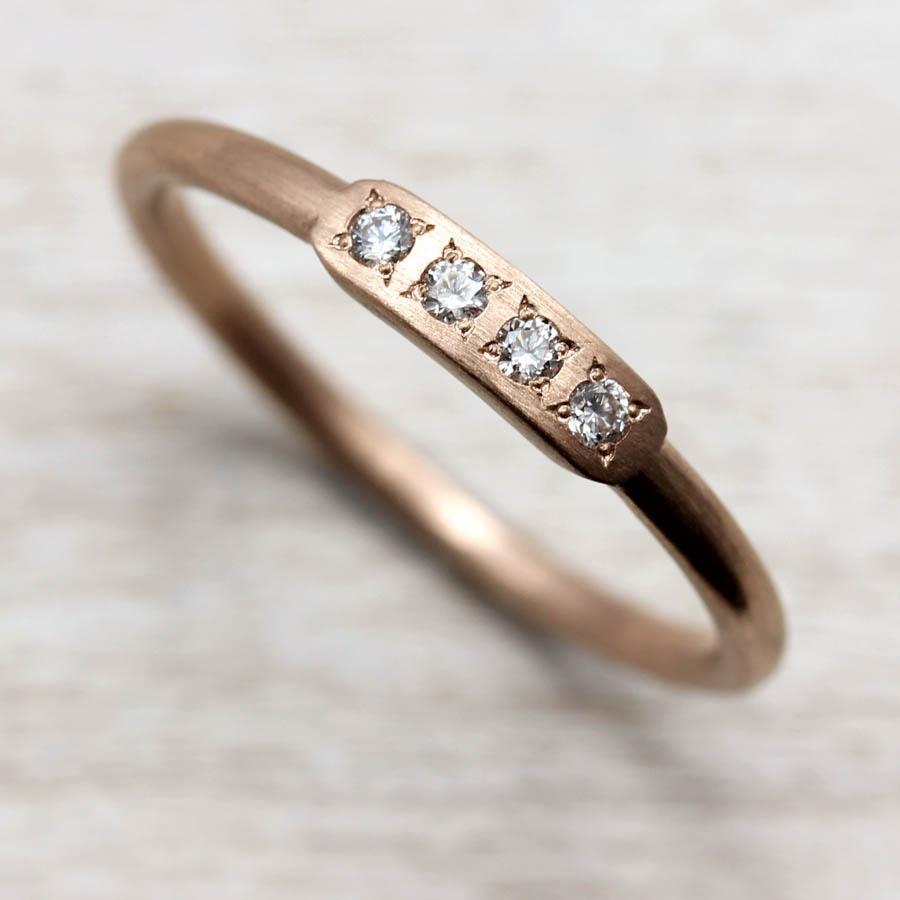 Diamond Bar Stacking Ring