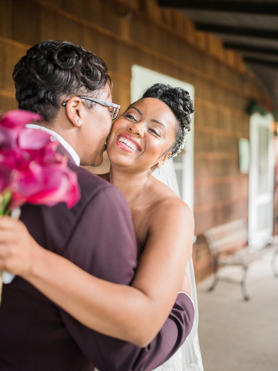 los altos lutheran same-sex wedding alexis kissing tasha's cheek