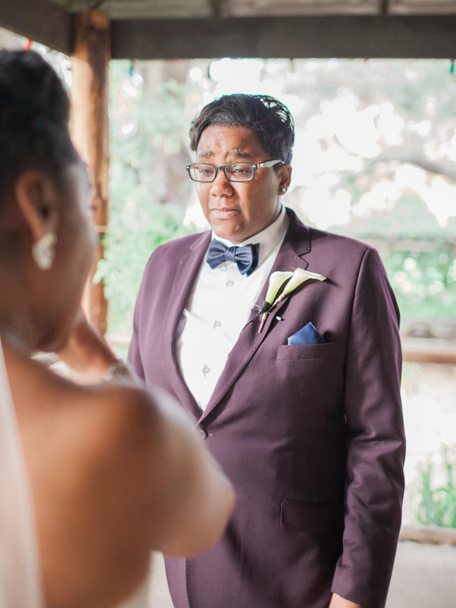 los altos lutheran same-sex wedding alexis gazing tearfully at tasha