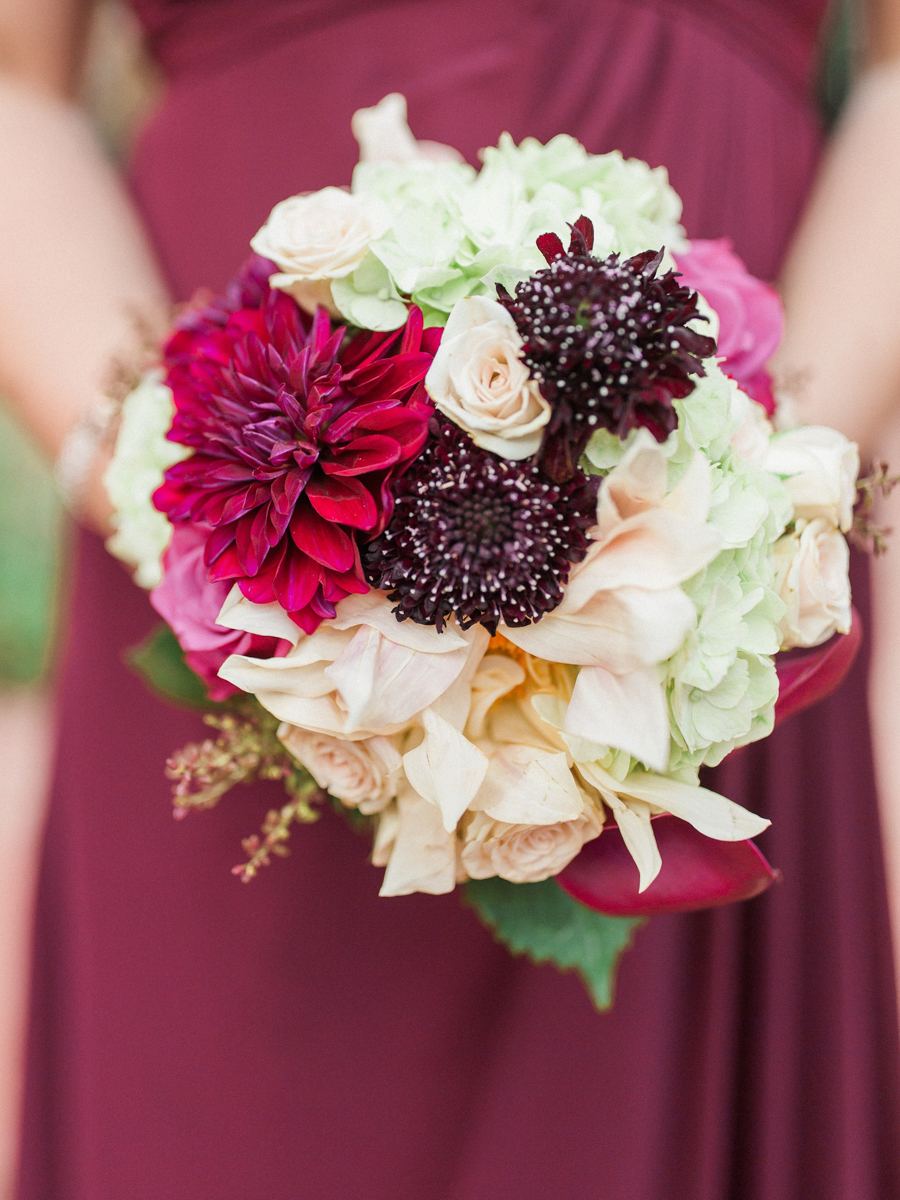 los altos lutheran same-sex wedding bridesmaid holding bouquet
