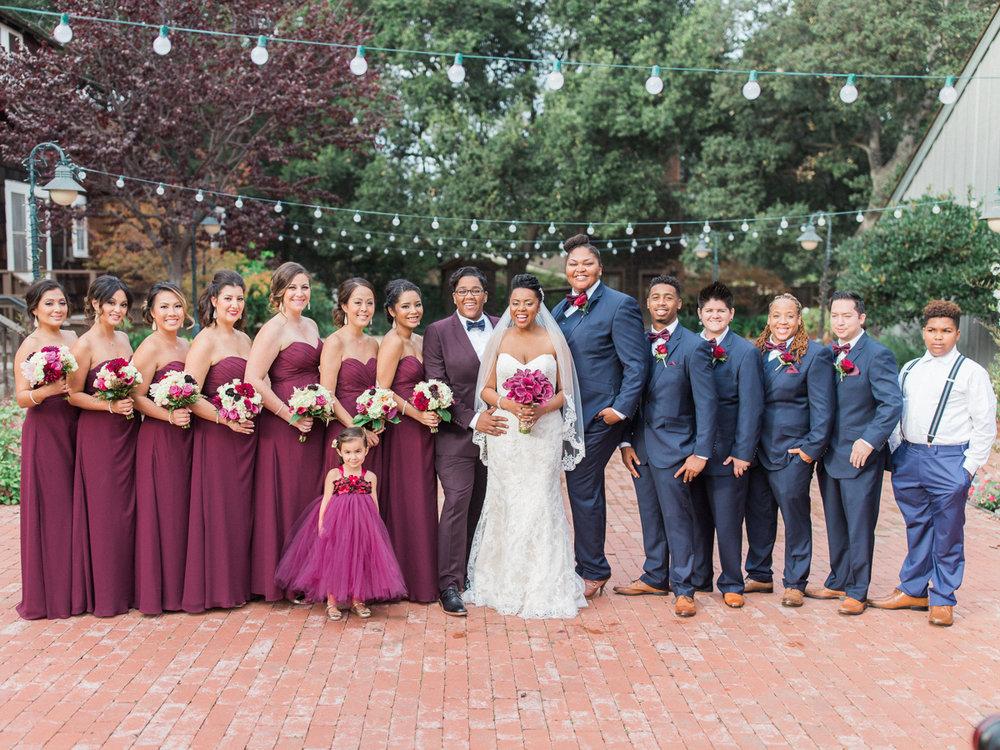 los altos lutheran same-sex wedding wedding party on brick patio
