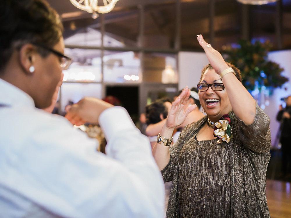los altos lutheran same-sex wedding alexis enthusiastically greeting guest