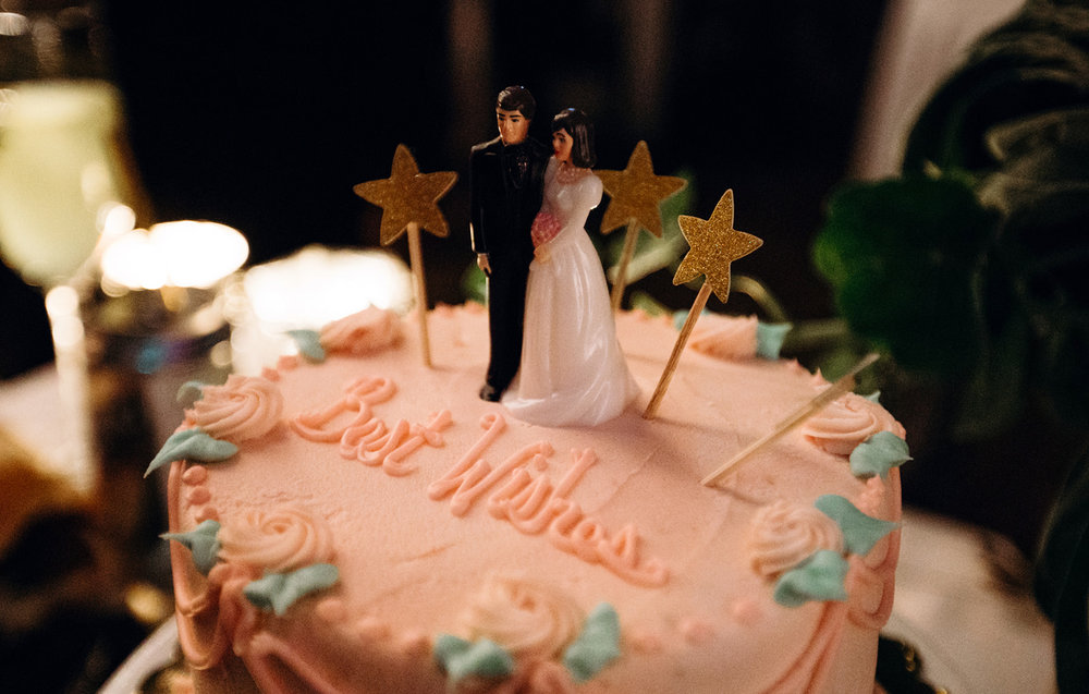 Pink best wishes wedding cake with glitter stars and cake topper by Austin Texas LGBTQ friendly photographer Ziggy Shoots