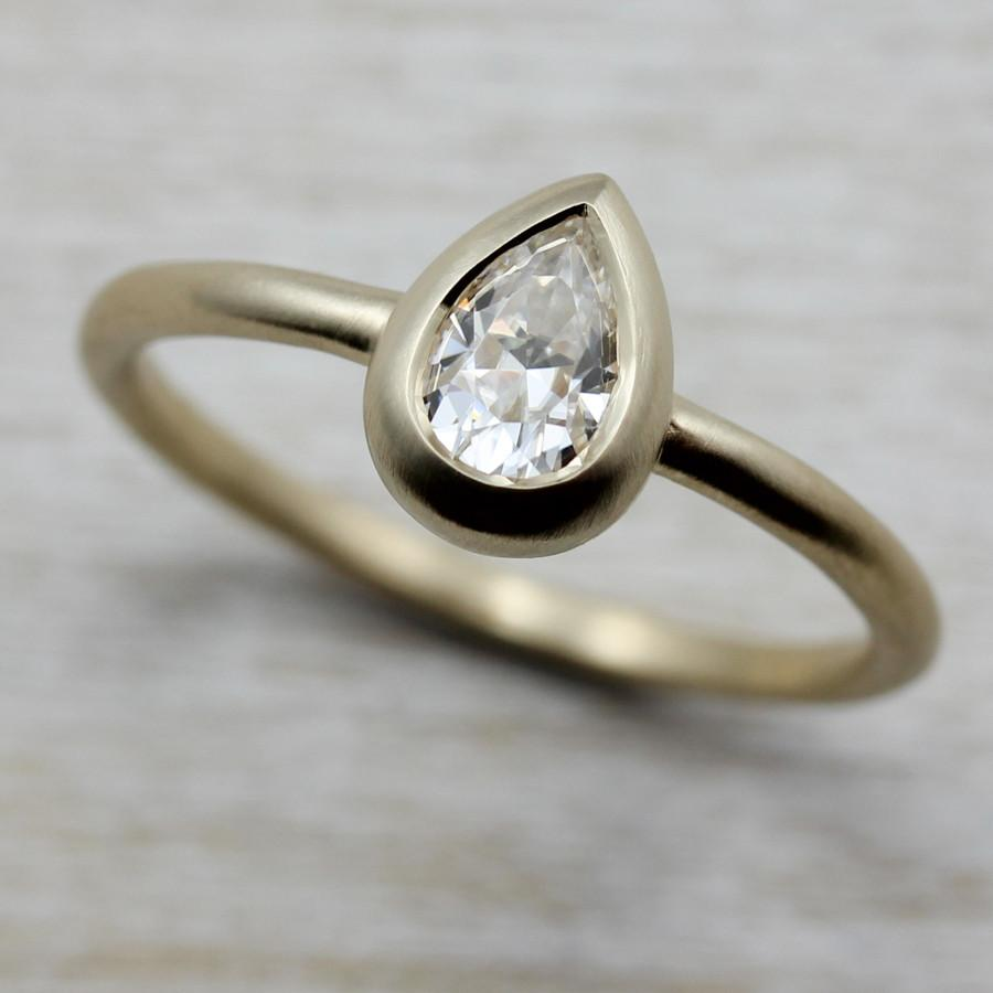6x4mm Pear Cut Solitaire Engagement Ring by Aide-mémoire Jewelry