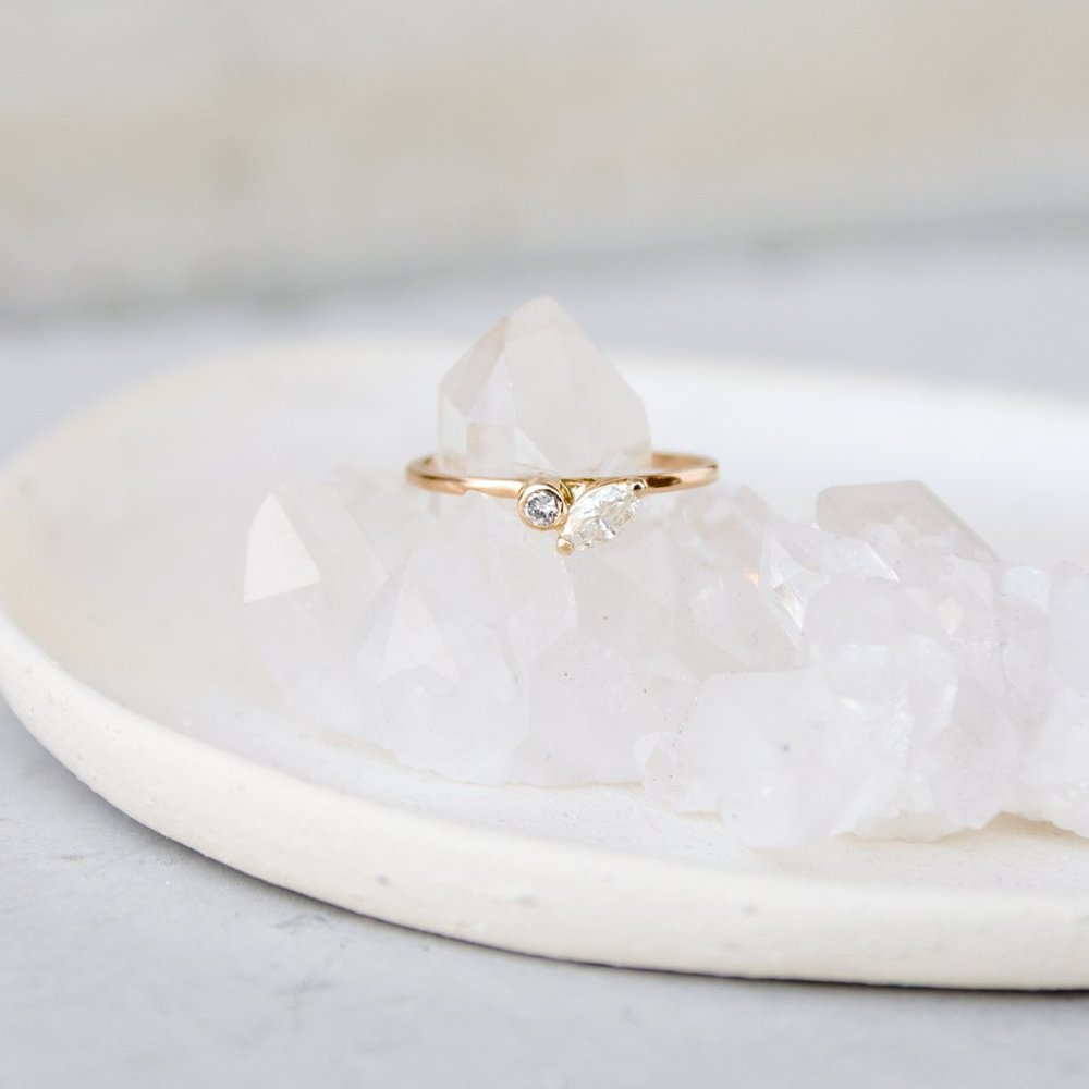 Feather Engagement Ring by Elaine B Jewelry