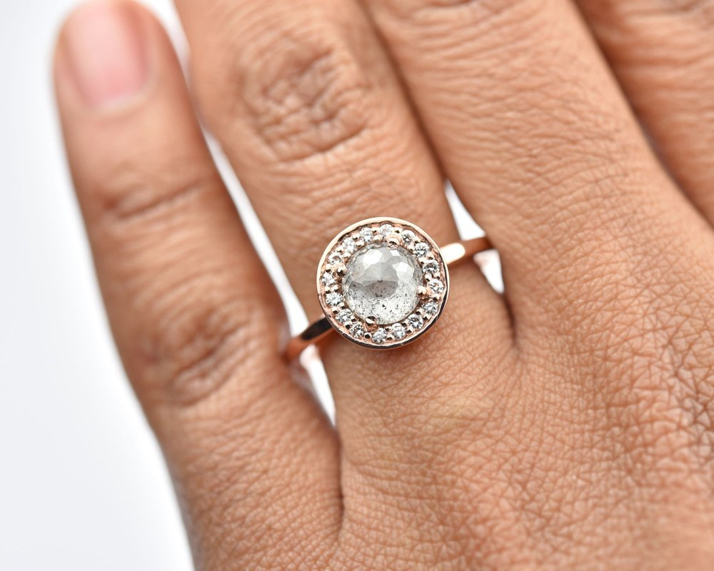 Salt and Pepper Halo Diamond Engagement Ring by Valerie Madison Jewelry