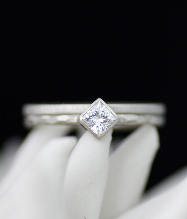 Skinny Double Diamond Wedding Set by Lolide