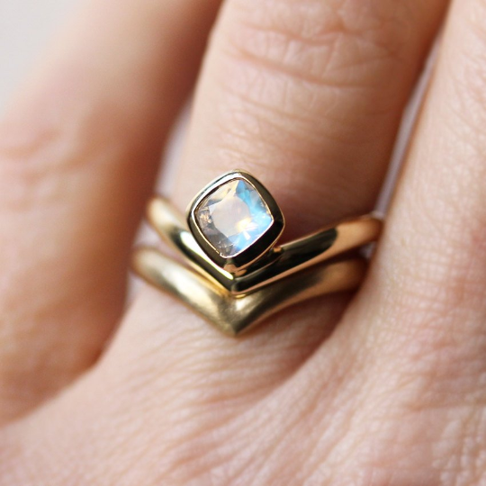 Rainbow Moonstone Engagement Ring by Metalicious
