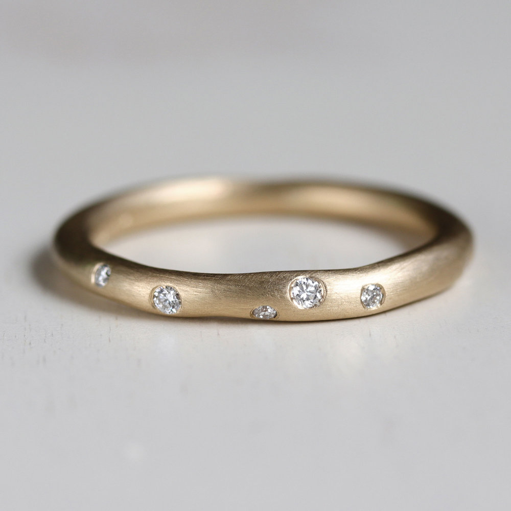 Round Sculpted Diamond Ring by Aide-mémoire Jewelry