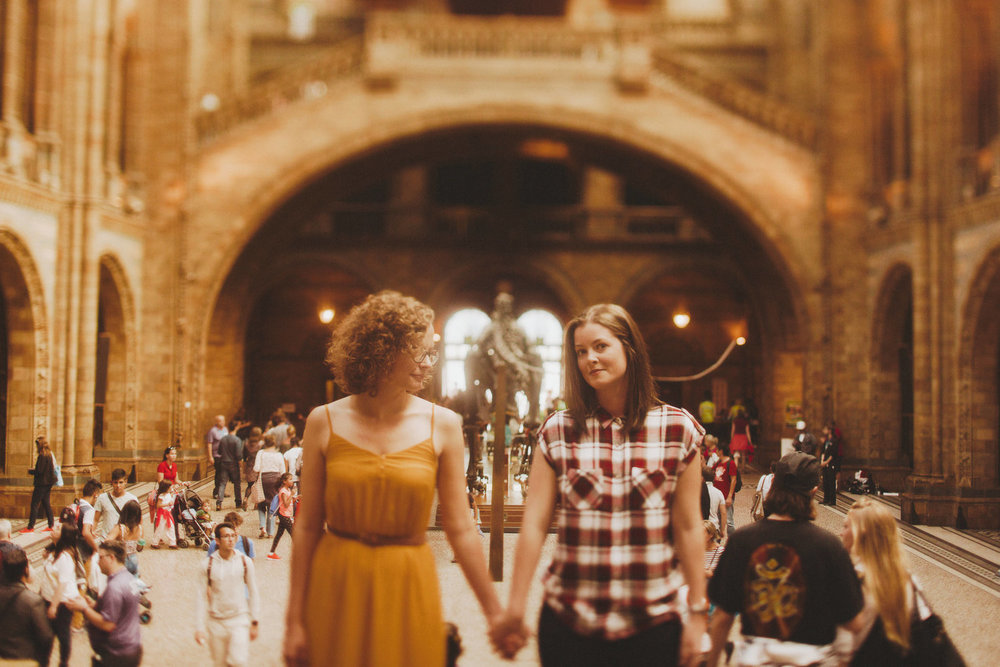 Jess and Karolyn's Engagement Session at the British Natural History Museum in London