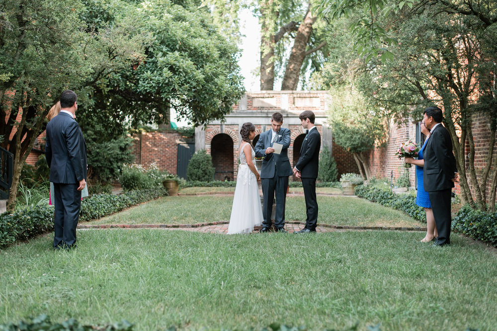 Ben and Christina's wedding ceremony in the gardens at the poe museum in richmond Virginia