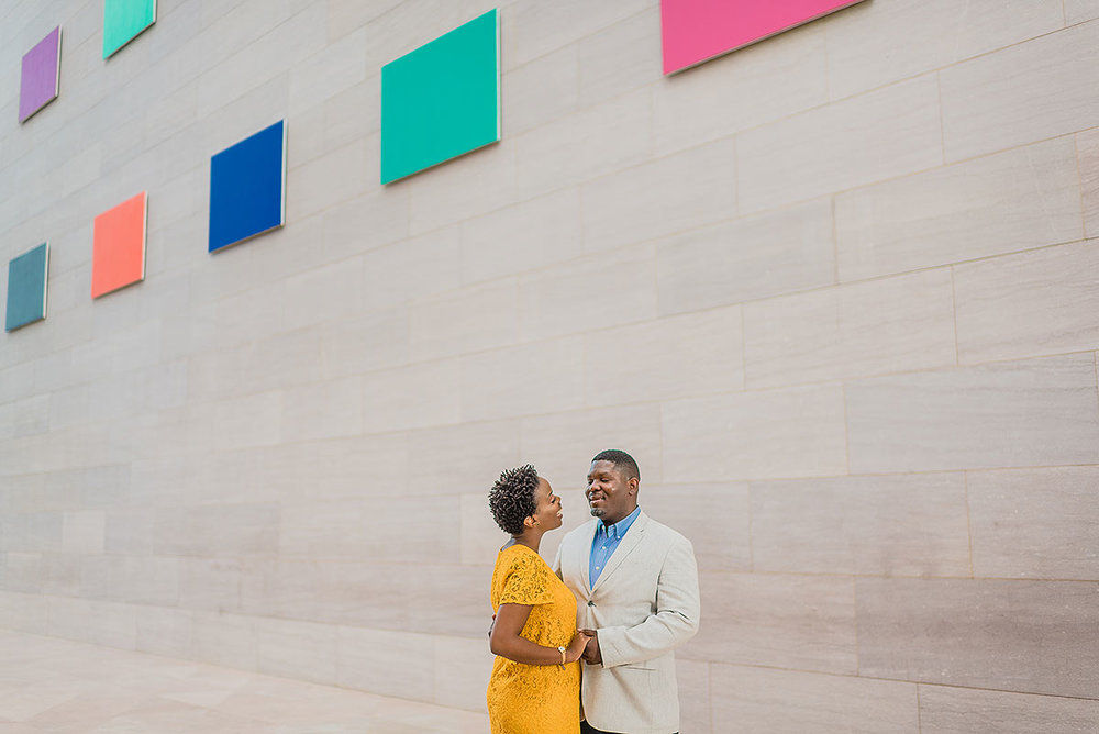 Marc and Laura's wedding engagement session at the National Gallery in Washington DC