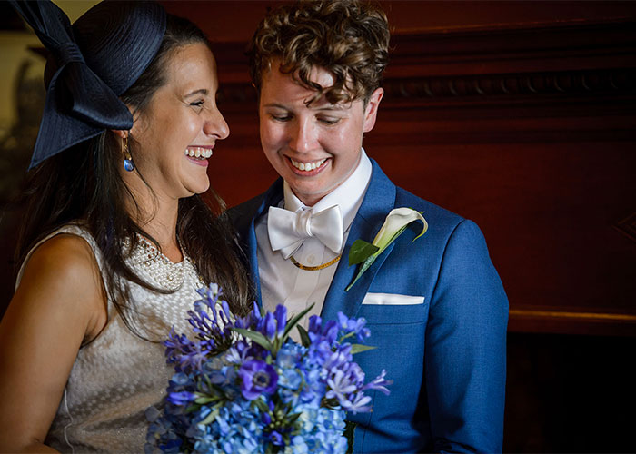 newlywed couple smiling after their wedding boston massachusetts