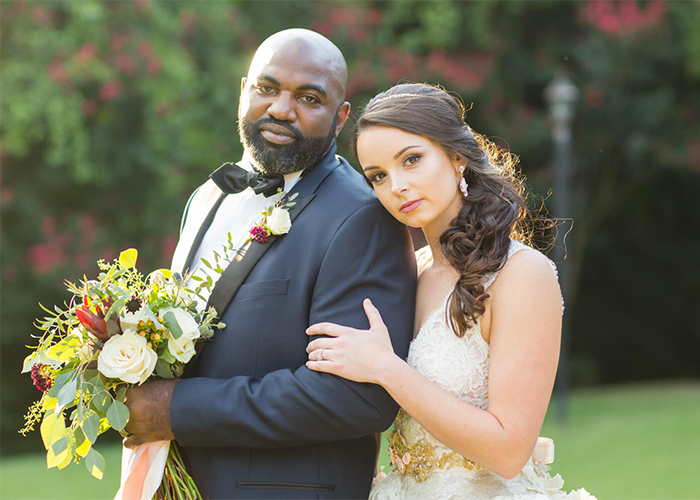newlywed couple smile and look at the camera columbia south carolina