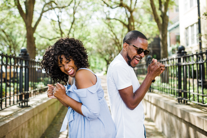 couple dancing during wedding engagement session in greenville south carolina