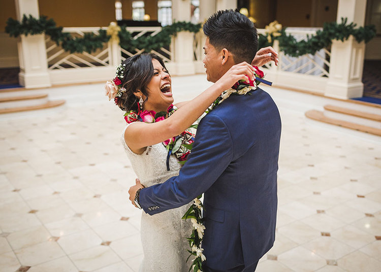 newlywed couple hugging and laughing at first look norfolk virginia
