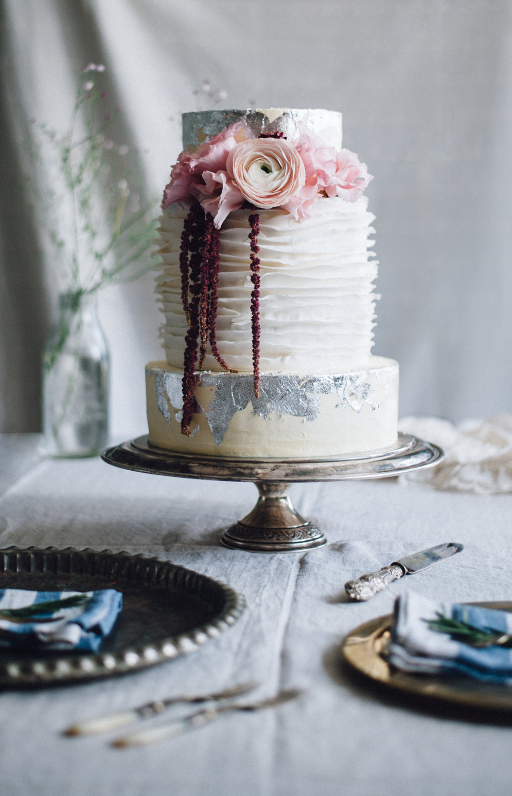 A beauty of a wedding cake created for a styled food shoot.