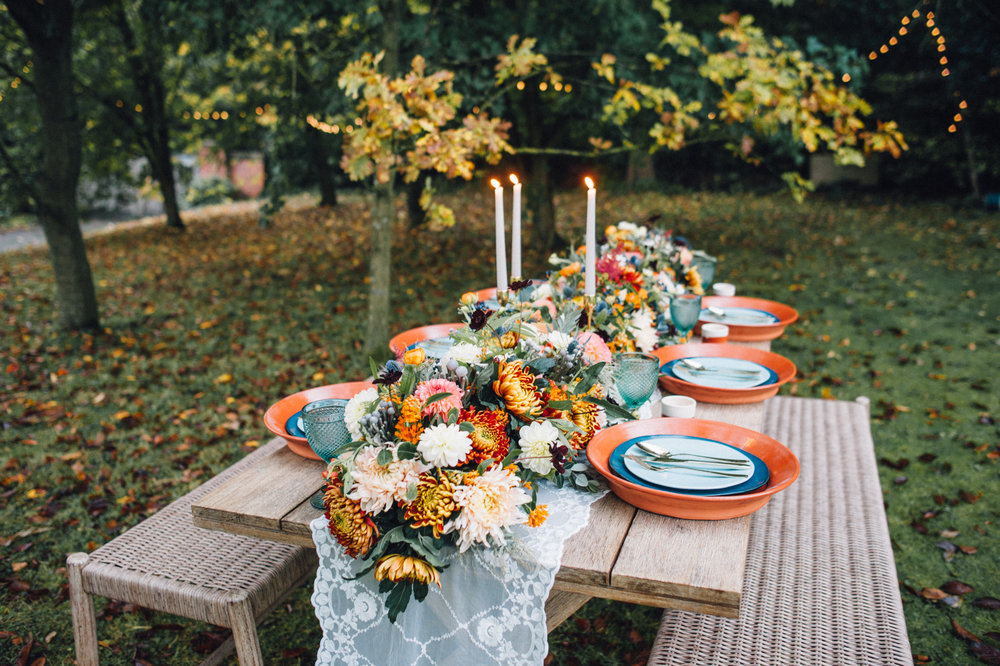 Tablescape from The Copse styled by Jenna. Floristry by WILLOWGOLD.